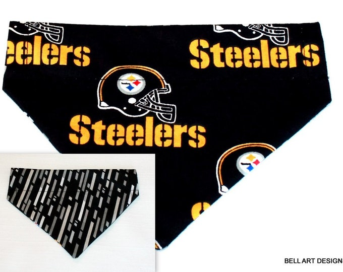 DOG BANDANA ~ Over the Collar ~ Reversible ~ Pittsburgh Steelers ~ Bell Art Designs ~ Small DCS286