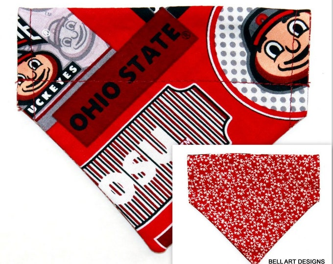 DOG BANDANA ~ Over the Collar ~ Reversible ~ Ohio, Buckeyes ~ Bell Art Designs ~ Extra Extra Small 233