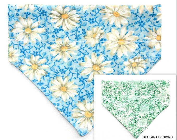 DAISY, DAISIES ~ Over the Collar ~ Reversible ~ Dog Pet Bandana ~ Bell Art Designs ~ Extra Small ~ 500