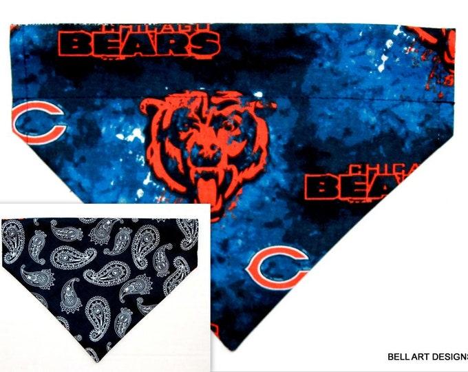 DOG BANDANA ~ Chicago Bears ~ Over the Collar ~ Reversible ~ Bell Art Designs ~ Medium ~ 766