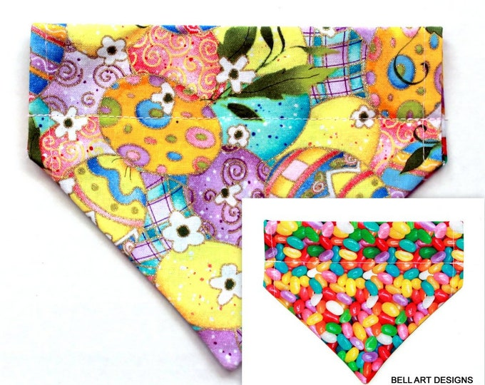 EASTER, Eggs, Jelly Beans ~ Over the Collar ~ Reversible ~ Dog Pet Bandana ~ Bell Art Designs ~ Extra Small ~ DCXS0449