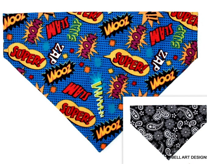 Comics, Pow, Wham ~ Over the Collar ~ Reversible ~ Dog Pet Bandana ~ Bell Art Designs ~ Large ~ 855
