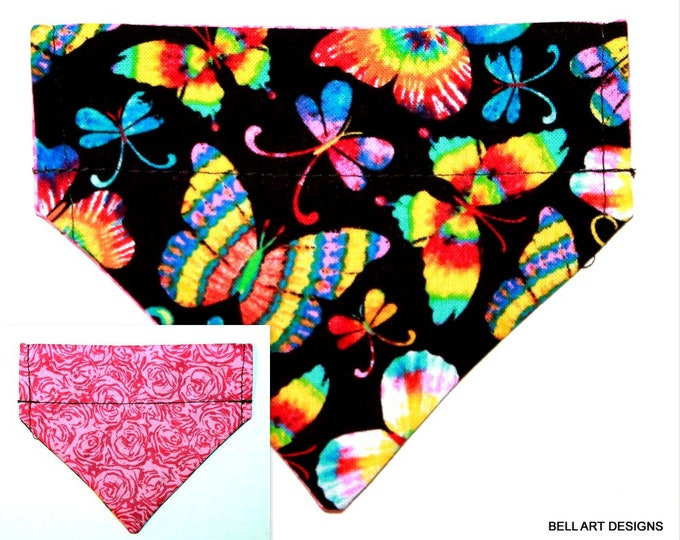 DOG BANDANA, Butterflies, Floral ~ Over the Collar ~ Reversible ~ Bell Art Designs ~ Extra Extra Small DCXXS251