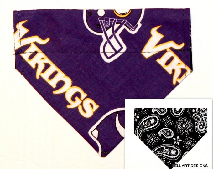 DOG BANDANA ~ Over the Collar ~ Reversible ~ Minnesota Vikings ~ Bell Art Designs ~ Extra Small 558