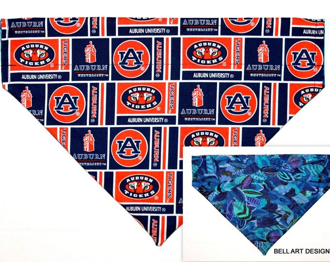 DOG BANDANA ~ Auburn, Tigers, Feathers, Over the Collar ~ Reversible ~ Bell Art Designs - Extra Large DCXL0259