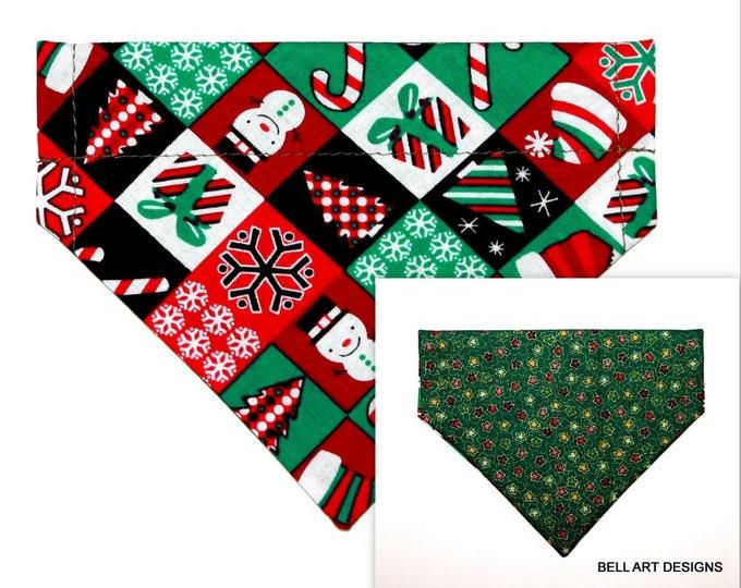CHRISTMAS ~ Over the Collar ~ Reversible ~ Dog Pet Bandana ~ Bell Art Designs ~ Extra Small ~ DCXS0396