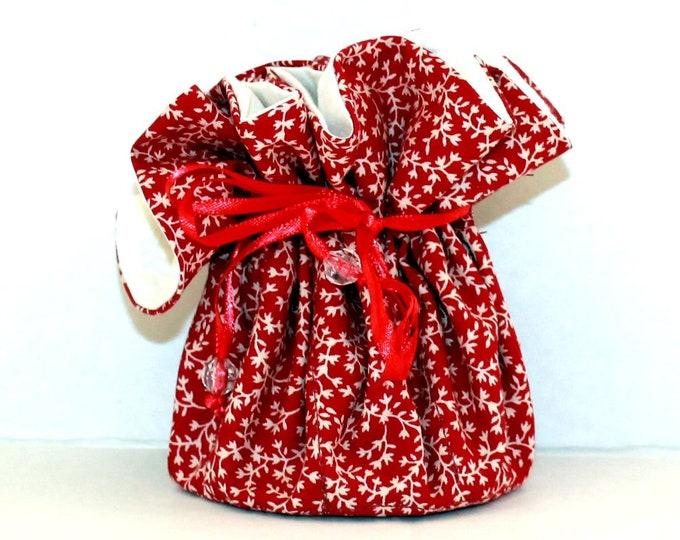 BURGUNDY FLORAL, Fabric Jewelry Organizer ~ Pouch ~ Storage Case ~ Bag ~ Tote - Bell Art Designs ~ Medium JBMD0425