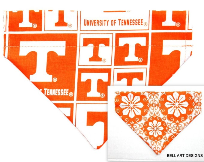 UNIVERSITY TENNESSEE, Volunteers, Over the Collar ~ Reversible ~ Dog Pet Bandana ~ Bell Art Designs ~ Small 614