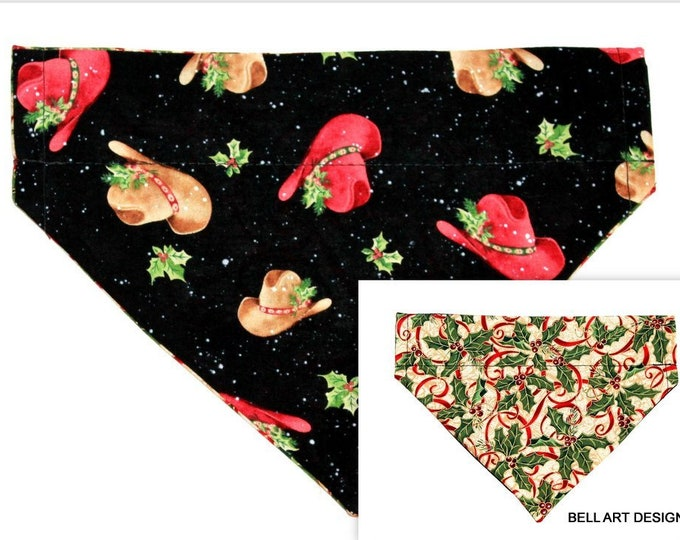 DOG BANDANA ~ Over the Collar ~ Reversible ~ Christmas Cowboy Hats, Holly ~ Bell Art Designs ~ Medium ~ 466