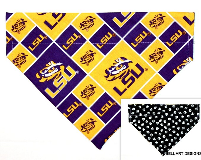 LSU, Louisiana, Collegiate ~ Over the Collar ~ Reversible ~ Dog Pet Bandana ~ Bell Art Designs ~ Large 807