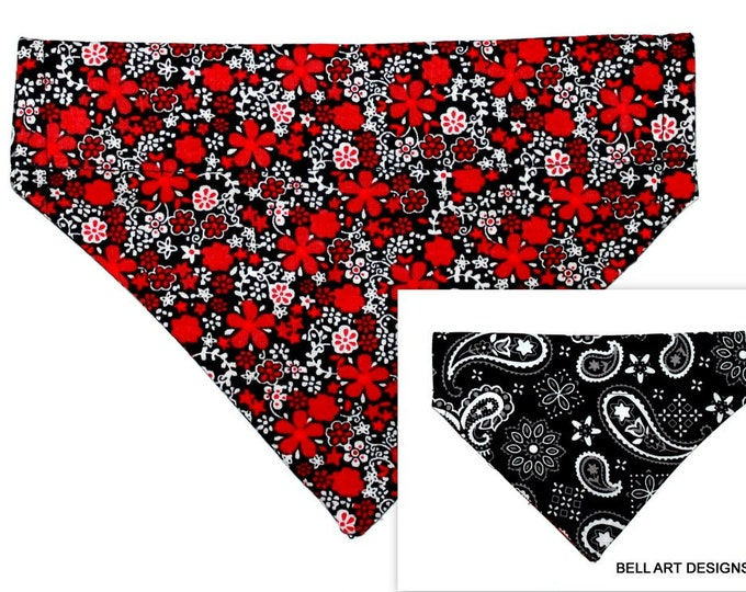 DOG BANDANA ~ Over the Collar ~ Reversible ~ Floral ~ Paisley ~ Bell Art Designs ~ Small DCS406