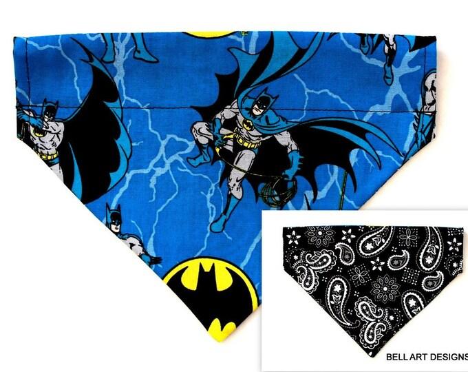 DOG BANDANA ~ Batman and Paisley ~ Over the Collar ~ Reversible ~ Bell Art Designs ~ Medium ~ DCM0683