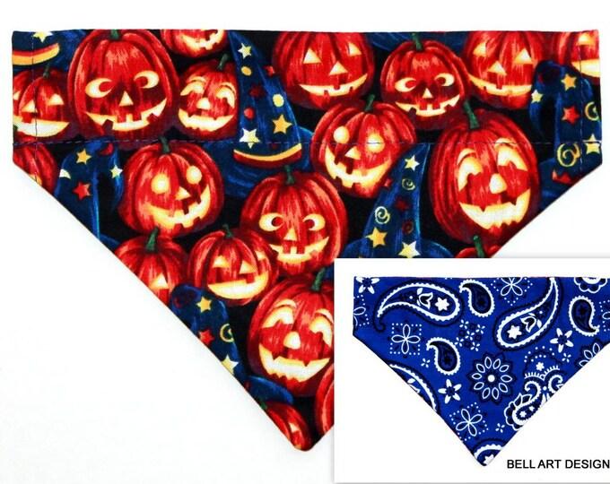 DOG BANDANA ~ Over the Collar ~ Reversible ~ Halloween, Pumpkins ~ Bell Art Designs ~ Small 621