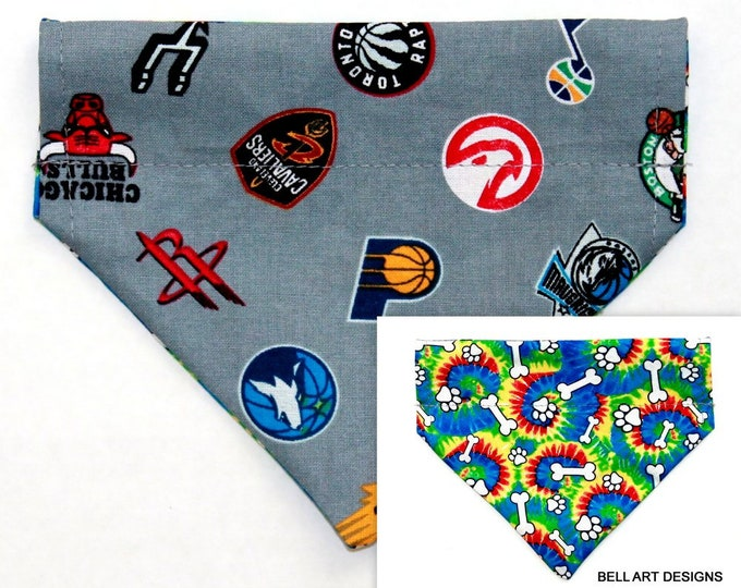NBA, Basketball ~ Over the Collar ~ Reversible ~ Dog Pet Bandana ~ Bell Art Designs ~ Extra Small ~ DCXS0488