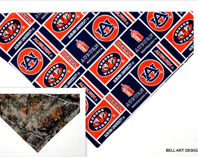 AUBURN UNIVERSITY ~ Over the Collar ~ Reversible ~ Dog Pet Bandana ~ Bell Art Designs ~ Large DCL780