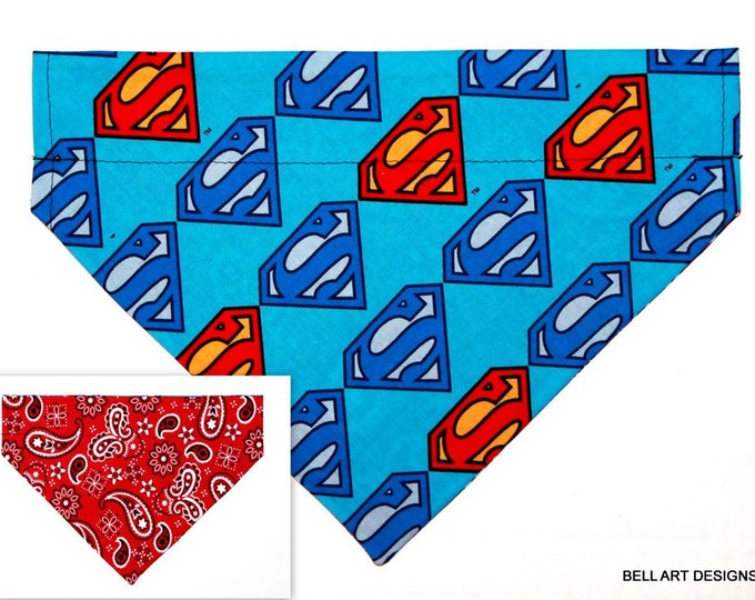 Superman, Paisley ~ Over the Collar ~ Denver, Reversible ~ Dog Pet Bandana ~ Bell Art Designs ~ Large 798