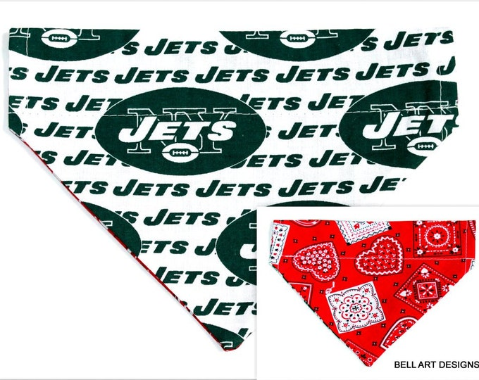DOG BANDANA ~ New York Jets ~ Over the Collar ~ Reversible ~ Bell Art Designs ~ Medium ~ DCM0538