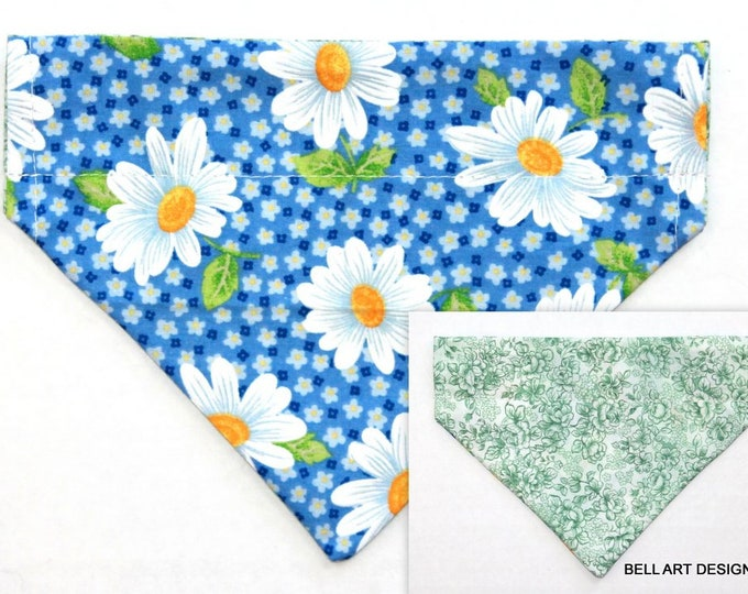 DOG BANDANA ~ Over the Collar ~ Reversible ~ Daisy ~ Bell Art Designs ~ Small DCS604
