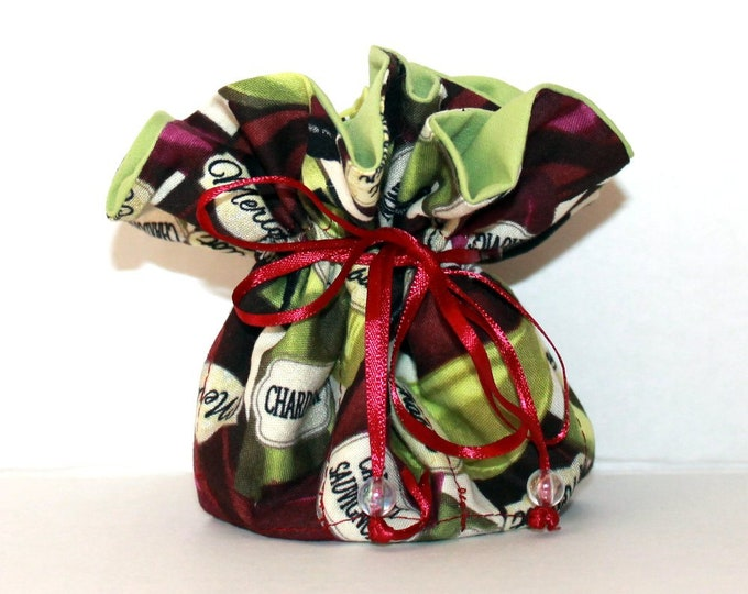 WINE BOTTLES, Fabric Jewelry Organizer ~ Pouch ~ Storage Case ~ Bag ~ Tote - Bell Art Designs ~ Medium JBMD0448