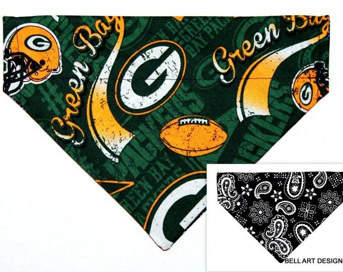 Green Bay Packers ~ Over the Collar ~ Dog Bandana ~ Reversible ~ Bell Art Designs ~ Small DCS643