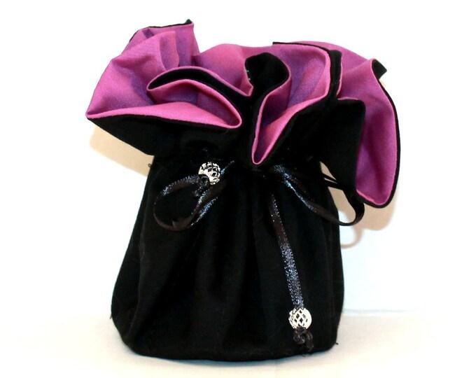 BLACK AND PURPLE, Fabric, Jewelry Organizer ~ Pouch ~ Storage Case ~ Bag ~ Tote - Bell Art Designs ~ Medium 431