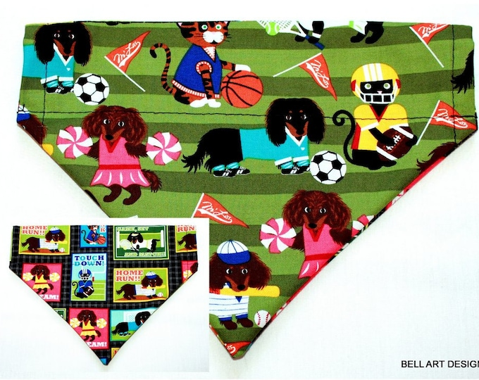 DOG BANDANA ~ Sports ~ Over the Collar ~ Reversible ~ Bell Art Designs, Medium, DCM0829