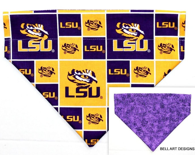 LSU, Collegiate ~ Over the Collar ~ Reversible ~ Dog Pet Bandana ~ Bell Art Designs ~ Large 734