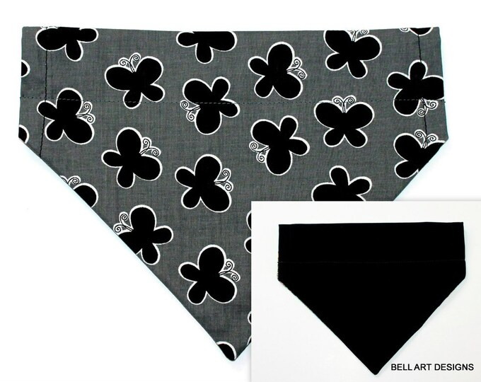 BUTTERFLIES and BLACK ~ Over the Collar ~ Reversible ~ Dog Pet Bandana ~ Bell Art Designs