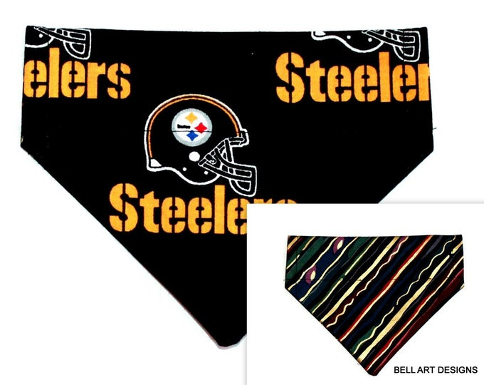PITTSBURGH STEELERS ~ Over the Collar ~ Reversible ~ Dog Pet Bandana ~ Bell Art Designs ~ Extra Small ~ DCXS02955