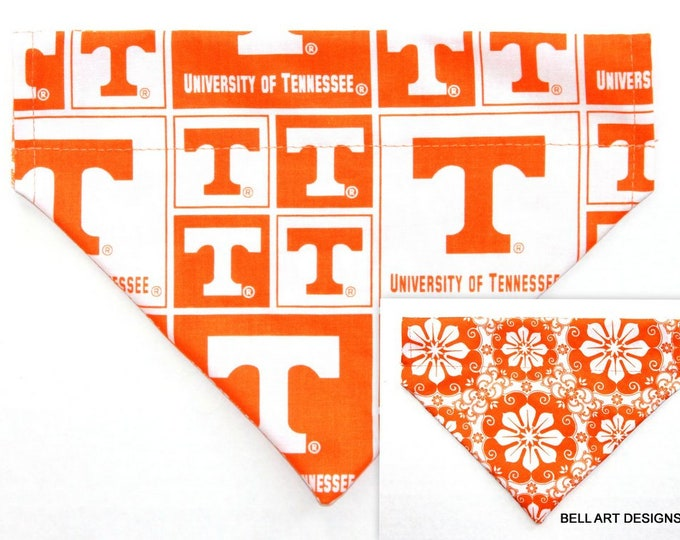 UNIVERSITY TENNESSEE, Over the Collar ~ Reversible ~ Dog Pet Bandana ~ Bell Art Designs ~ Medium, DCM754