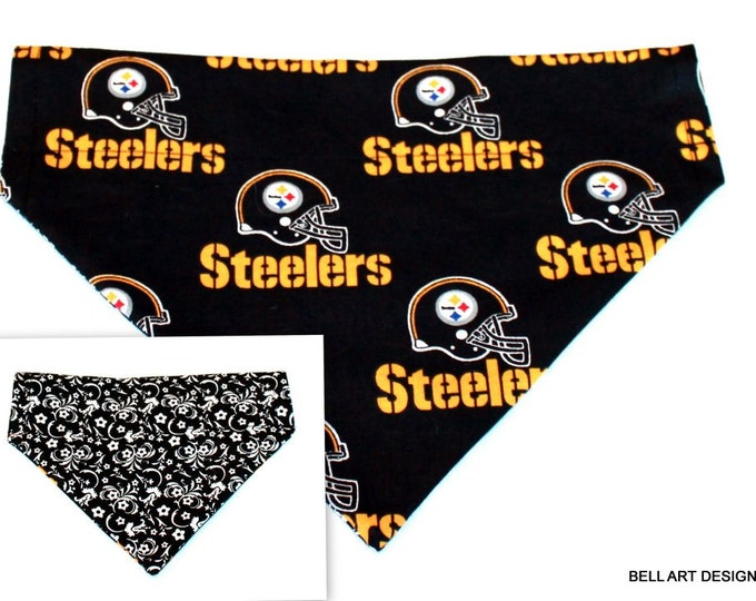 PITTSBURGH STEELERS ~ Over the Collar ~ Reversible ~ Dog Pet Bandana ~ Bell Art Designs ~ Large DCL447