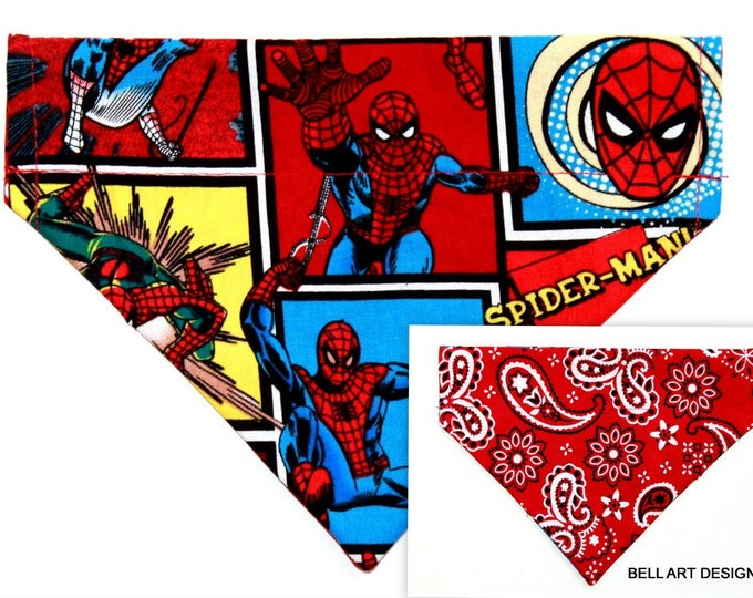 DOG BANDANA ~ Over the Collar ~ Reversible ~ Spiderman ~ Bell Art Designs ~ Small DCS588