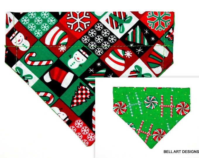 CHRISTMAS ~ Ho Ho ~ Over the Collar ~ Reversible ~ Dog Pet Bandana ~ Bell Art Designs ~ Extra Small ~ DCXS0399