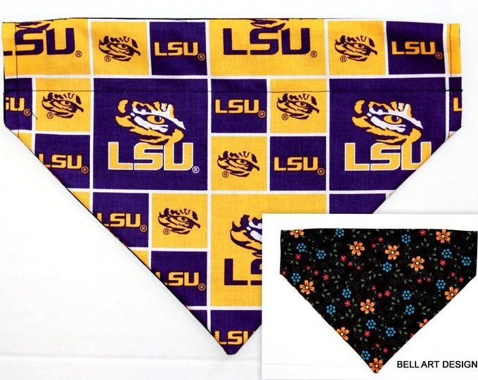 LSU, Collegiate ~ Over the Collar ~ Reversible ~ Dog Pet Bandana ~ Bell Art Designs ~ Large DCL735