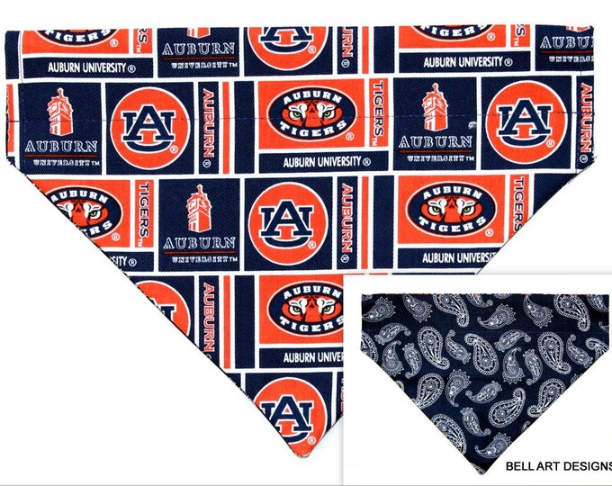 AUBURN UNIVERSITY ~ Over the Collar ~ Reversible ~ Dog Pet Bandana ~ Bell Art Designs ~ Large DCL717