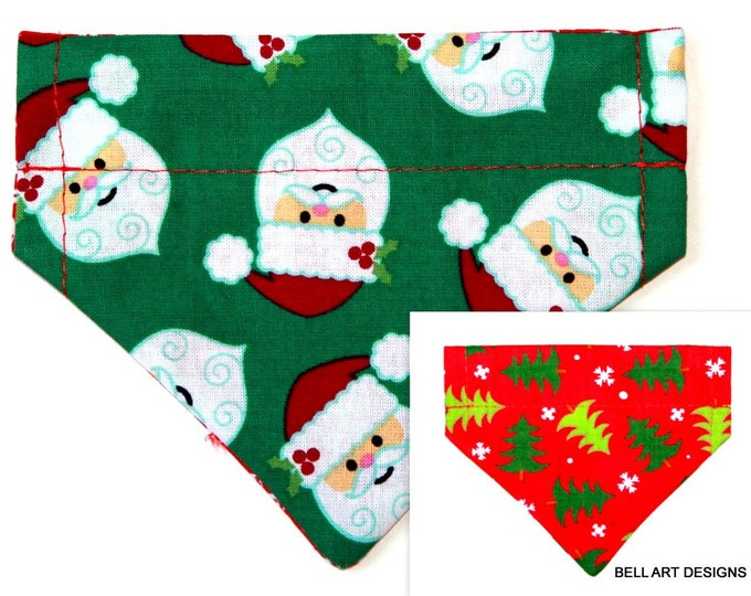CHRISTMAS ~ Santa, Over the Collar ~ Reversible ~ Dog Pet Bandana ~ Bell Art Designs ~ Extra Extra Small DCXXS95