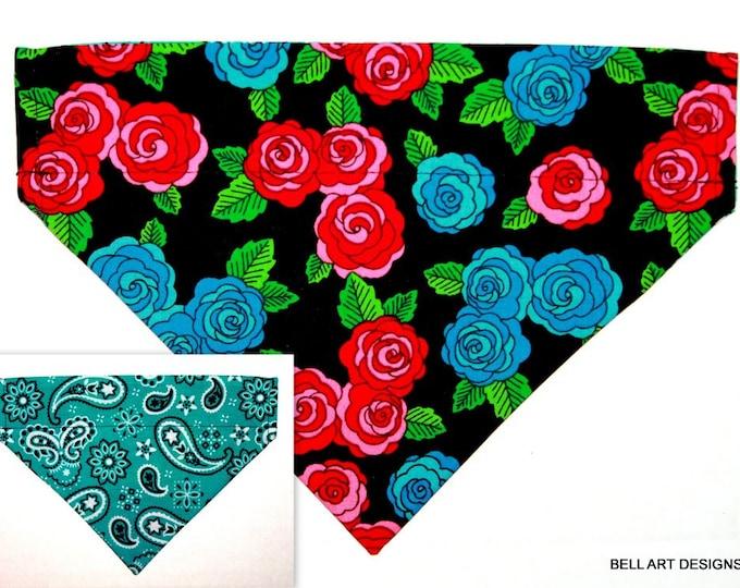 FLORAL ~ Over the Collar ~ Reversible ~ Dog Pet Bandana ~ Bell Art Designs ~ Medium ~ DCM0775