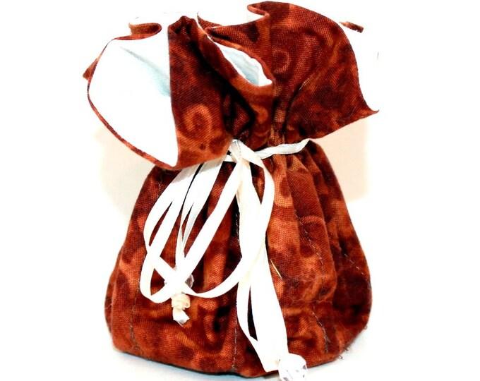 Brown Scroll Design, Fabric, Jewelry Organizer ~ Pouch ~ Storage Case ~ Bag ~ Tote - Bell Art Designs ~ Medium 437