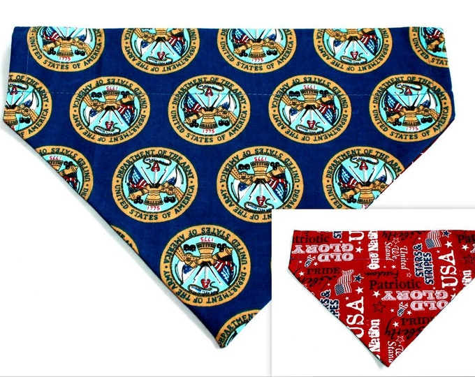 DOG BANDANA ~ Army, USA ~ Over the Collar ~ Reversible ~ Bell Art Designs Large DCL0142