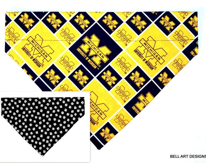 DOG BANDANA ~ Michigan, Over the Collar ~ Reversible ~ Bell Art Designs - Extra Large 272