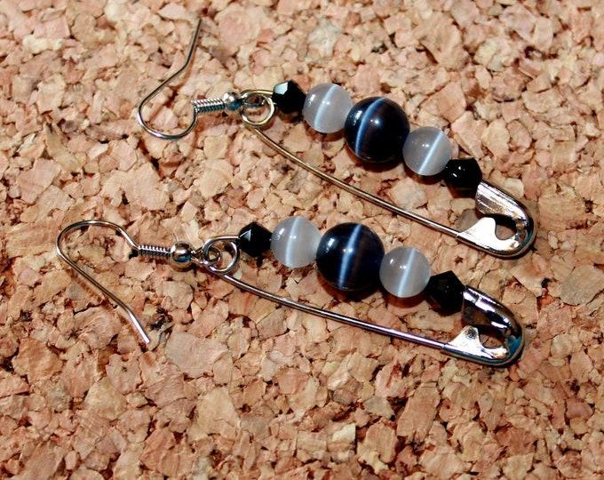 Cats Eye and Crystal Safety Pin Earrings, Retro Earrings,  Dangle Earrings, Bell Art Designs 140