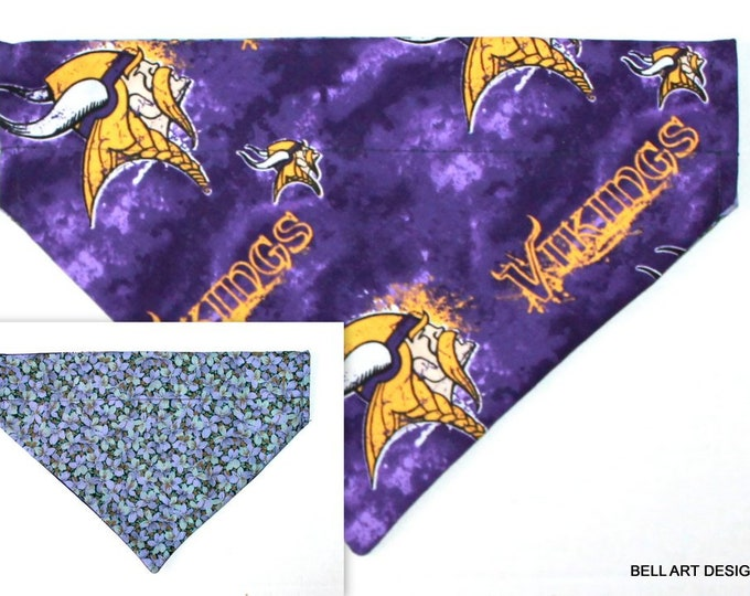 DOG BANDANA ~ Minnesota Vikings ~ Over the Collar ~ Reversible ~ Bell Art Designs ~ Large 859