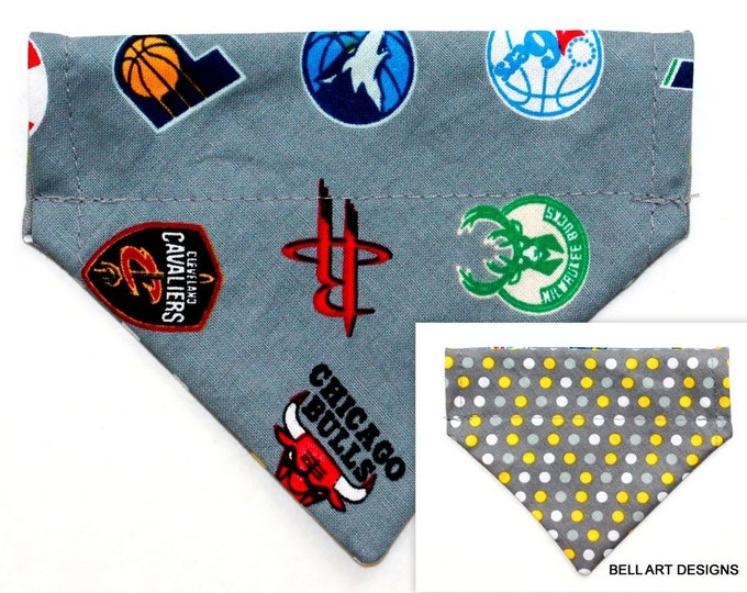 DOG BANDANA, Baskeball ~ Over the Collar ~ Reversible ~ Sports ~ Bell Art Designs ~ Extra Extra Small 221