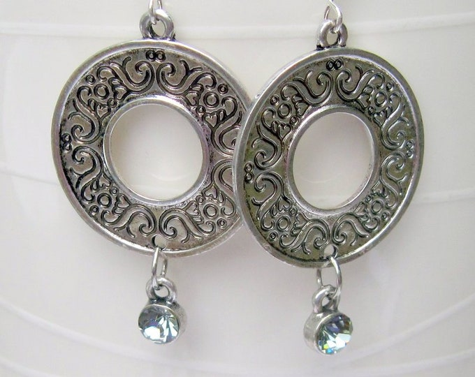 Round Silver Etched Earrings, Dangle Earrings, Bell Art Designs 46