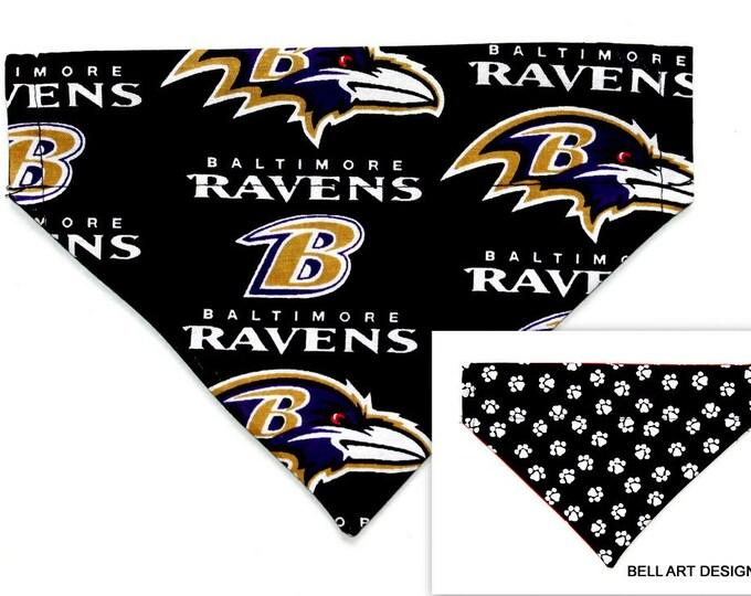 DOG BANDANA ~ Over the Collar ~ Reversible ~ Baltimore Ravens ~ Bell Art Designs ~ Small DCS514