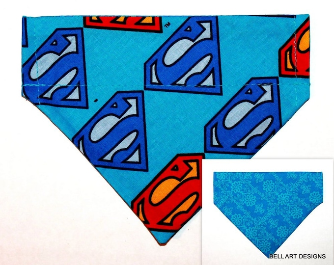 Superman, Over the Collar ~ Reversible ~ Dog Pet Bandana ~ Bell Art Designs ~ Extra Small ~ DCXS514