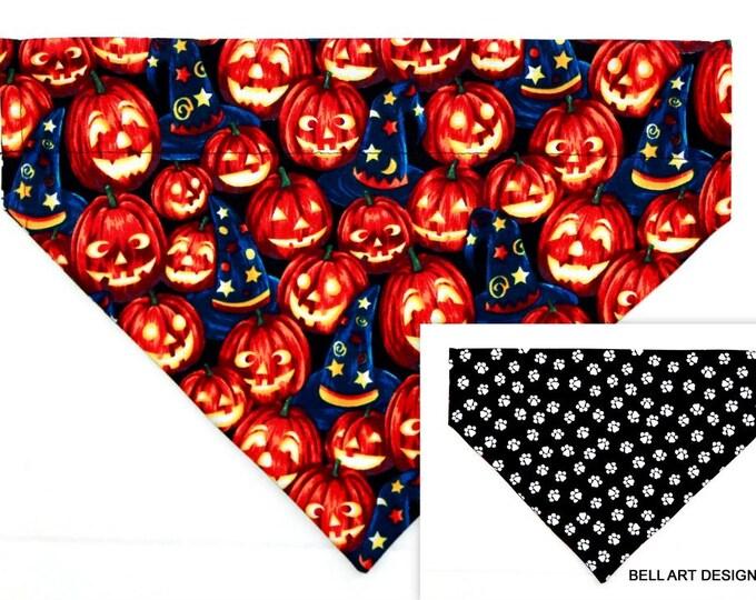 HALLOWEEN ~ Pumpkins, Paws, Over the Collar ~ Reversible ~ Dog Pet Bandana ~ Bell Art Designs ~ Large DCL738