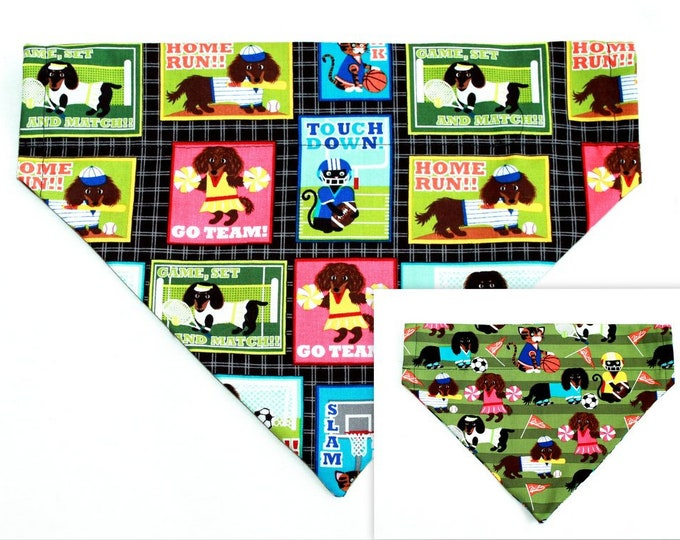 SPORTS ~ Over the Collar ~ Reversible ~ Dog Pet Bandana ~ Bell Art Designs - Large DCL0042