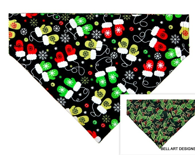 CHRISTMAS ~ Holly, Mittens ~ Over the Collar ~ Reversible ~ Dog Pet Bandana ~ Bell Art Designs ~ Medium, 796