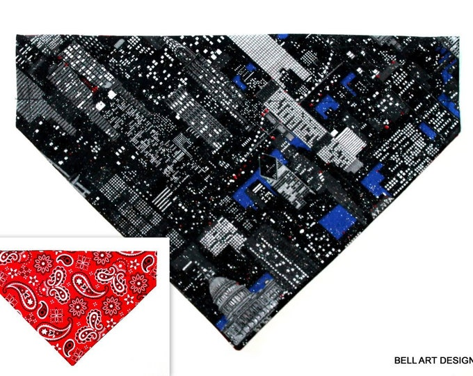 CITYSCAPE ~ Over the Collar ~ Reversible ~ Dog Pet Bandana ~ Bell Art Designs ~ Large ~ 793